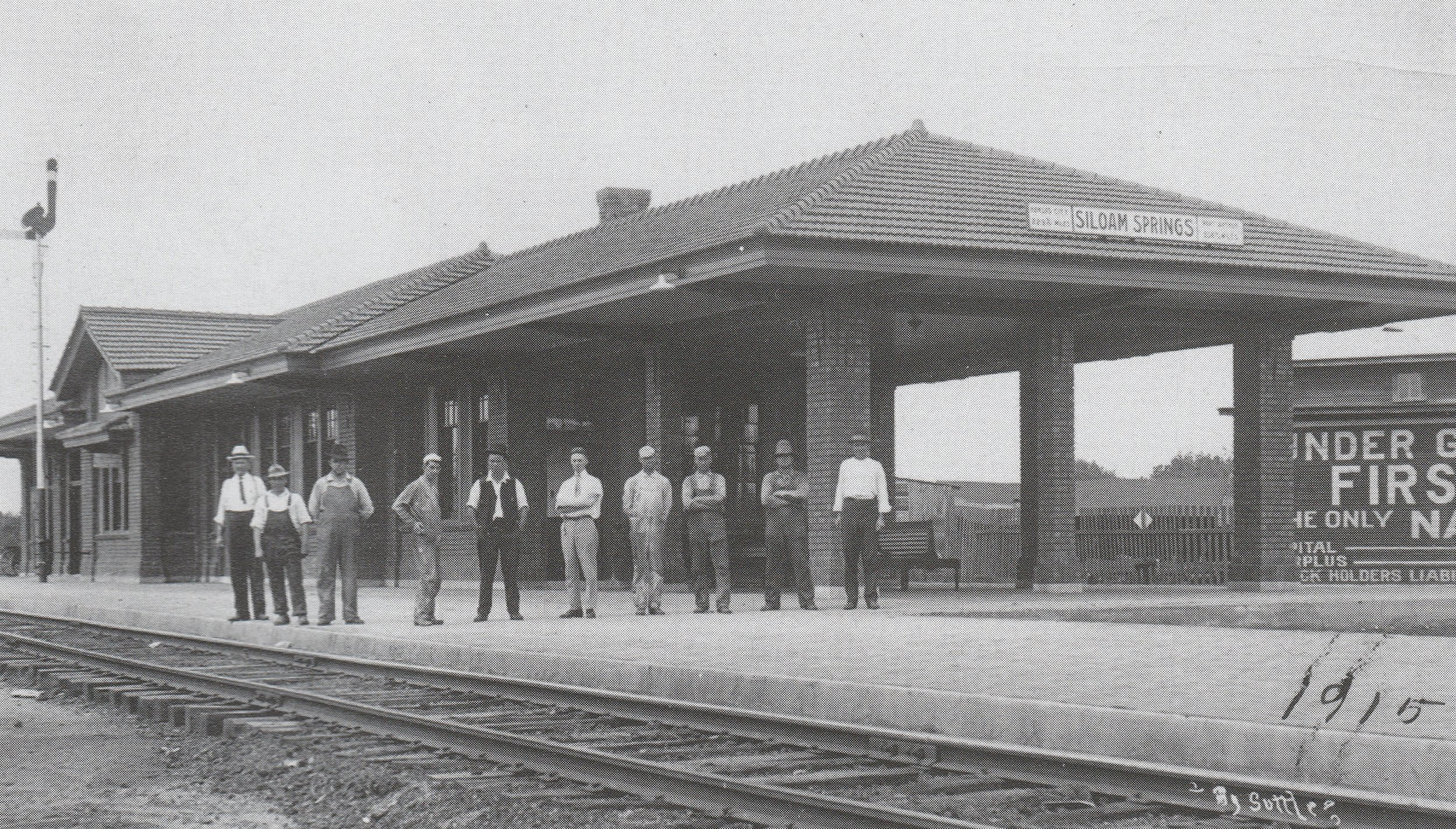 Siloam's second passenger depot was built in 1915 on the location of its first depot. The first depot was moved to another location and used for freight only. Photo from  Images of America: Siloam Springs  by Don Warden, used with permission.