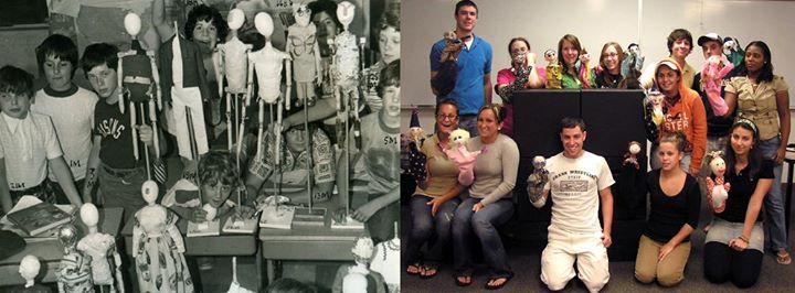 David Bogdan's puppet class, 1975. Linda Wingerter's puppet class 2005.
