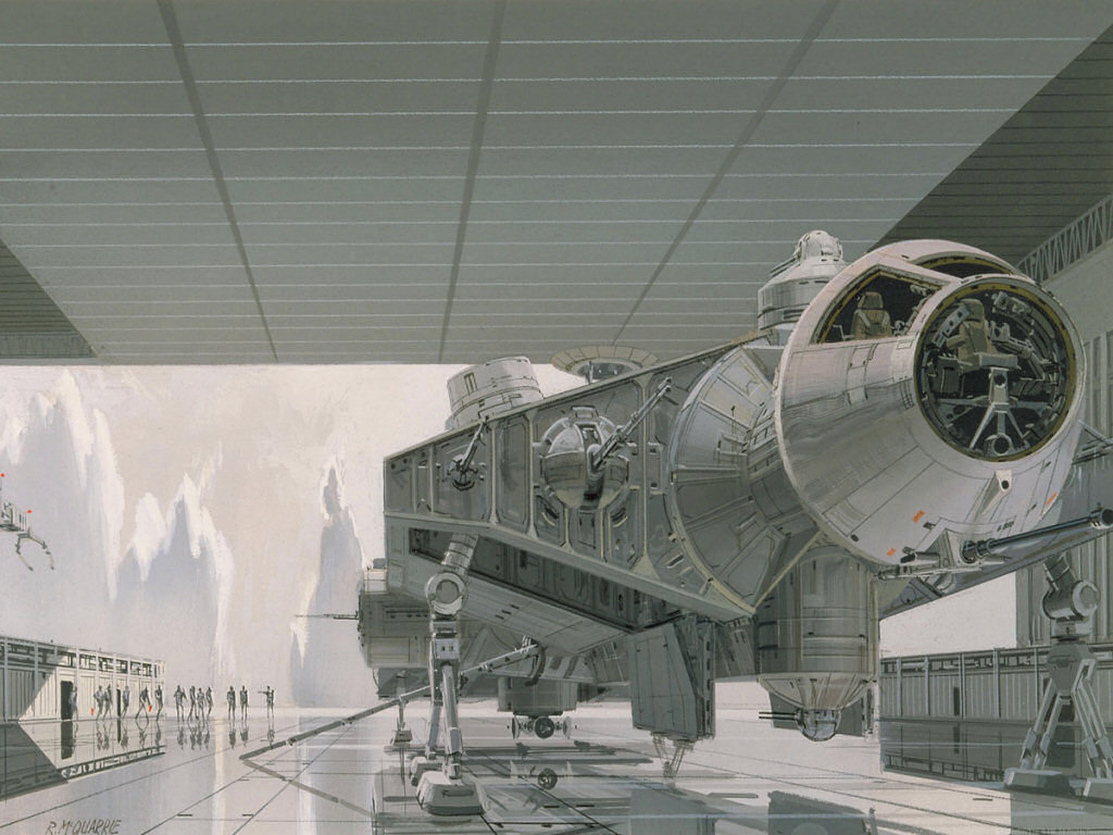Early Ralph McQuarrie painting of Falcon on the Death Star