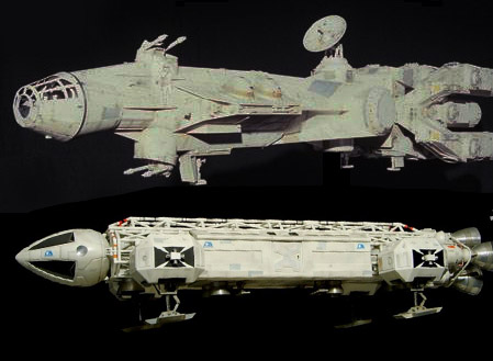 Original Millennium Falcon Design (top) Space 1999 Eagle (bottom)