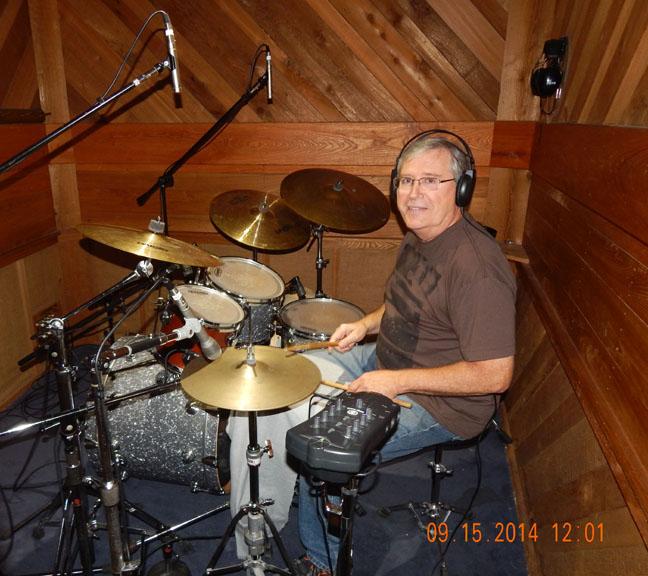 Larry Ackerson playing his drums