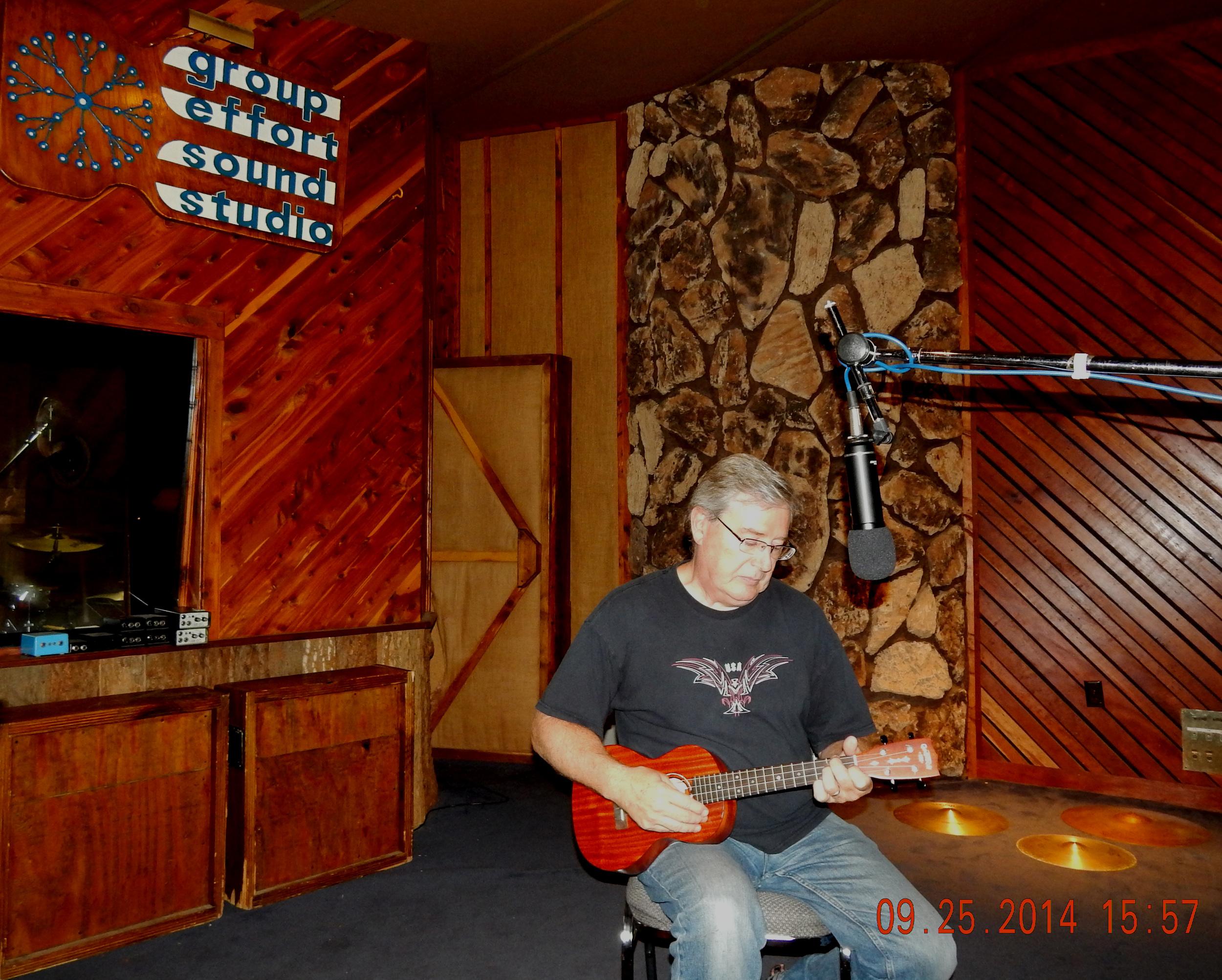 Larry adding ukulele track to Blue Sea Islands.