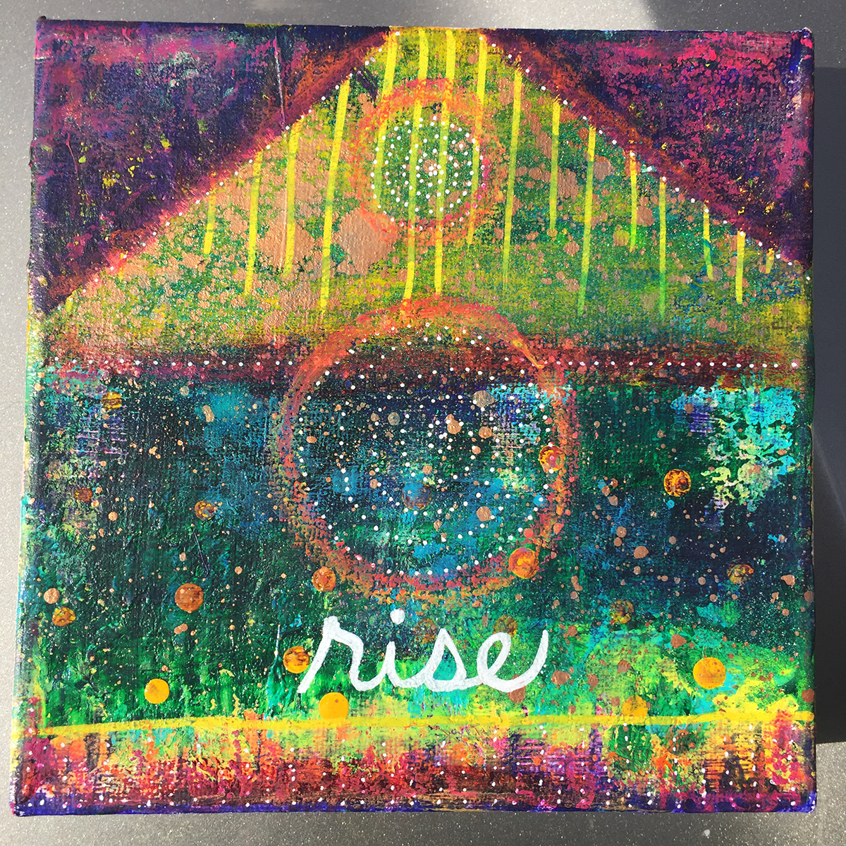 Rise. 6 x 6 inch acrylic and oil pastel on gallery wrapped canvas