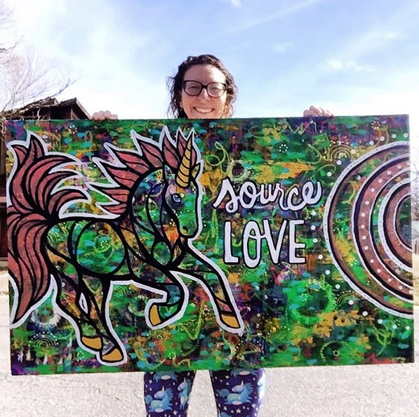 """""""Source Love"""" original Dancing Uniquorn painting. 30 x 48 inches, ready to hang. $1500"""