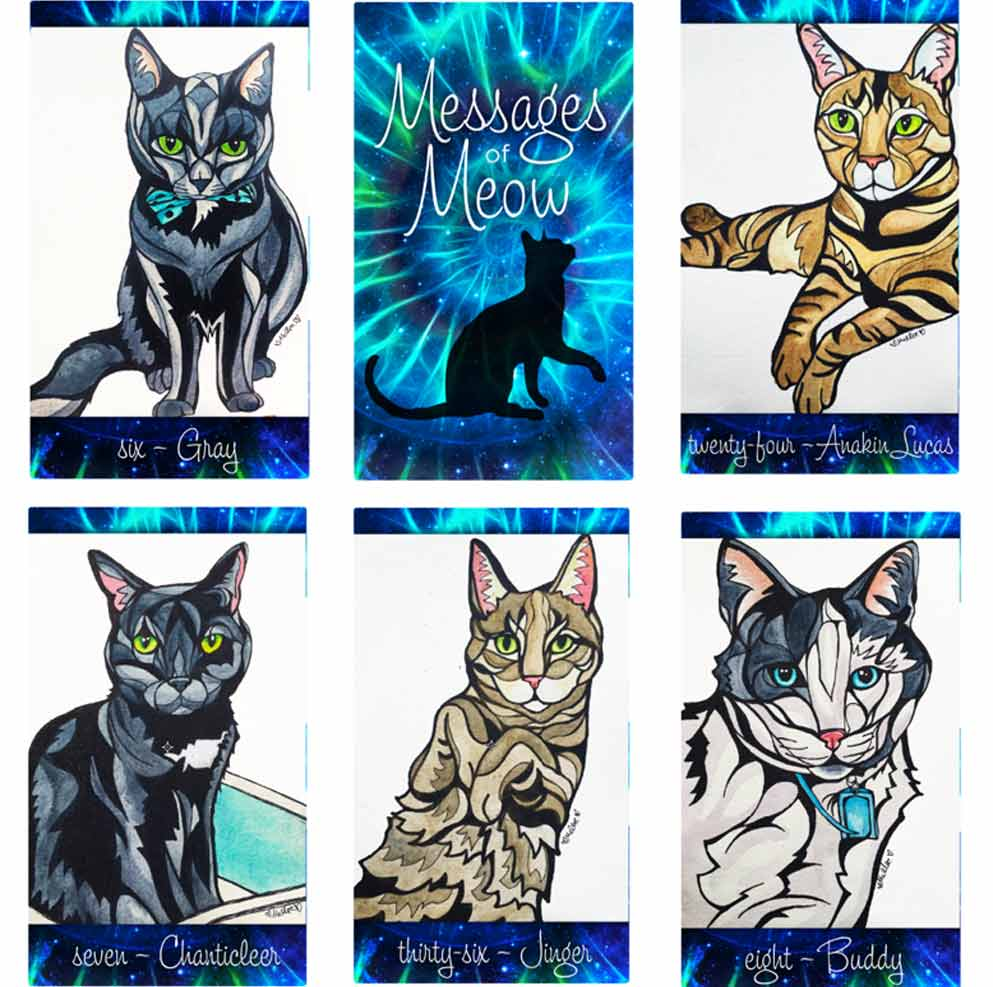 Click on the Messages of Meow cards to purchase this oracle deck!