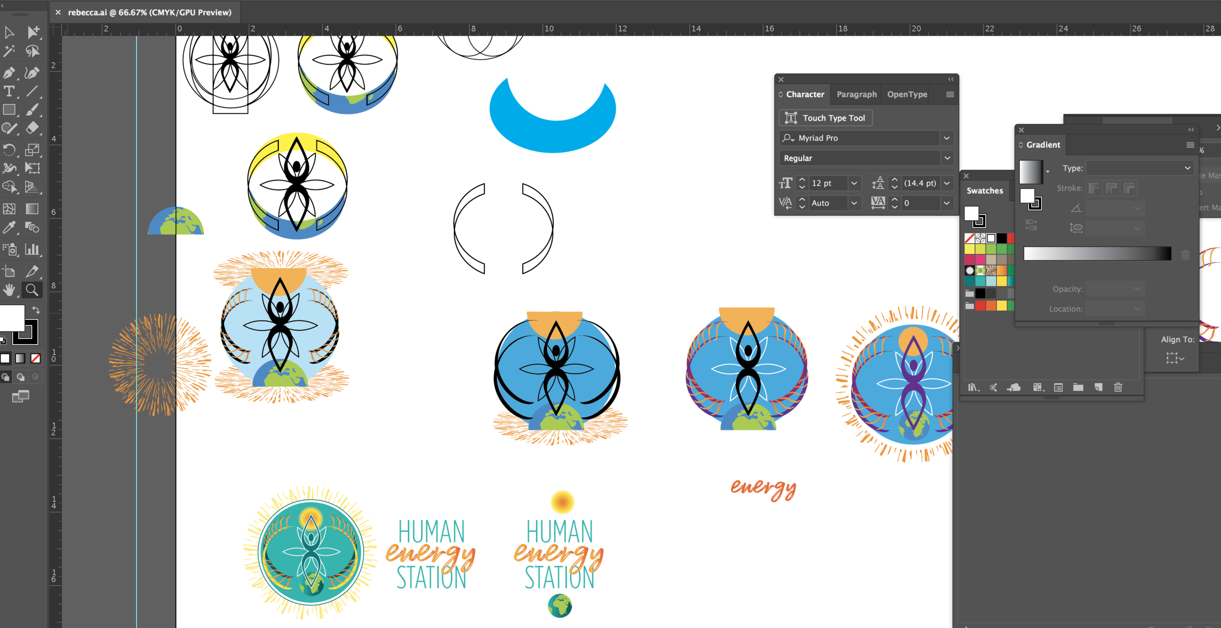 Various stages of building the final logo design for  Human Energy Station with Rebecca Heartfly