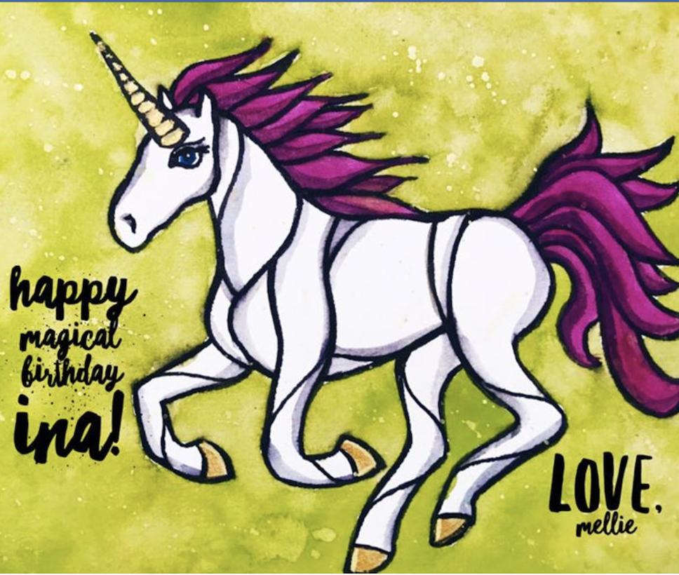 Original birthday unicorns for  Hillary  and  Ina .