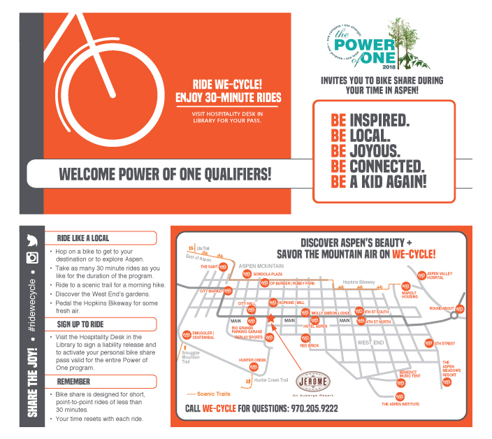 Rack Card (front and back) designed to distribute bike passes to Hotel Jerome guests for the Power of One.Physical bike pass was adhered to the rounded rectangle on the right half of the front.