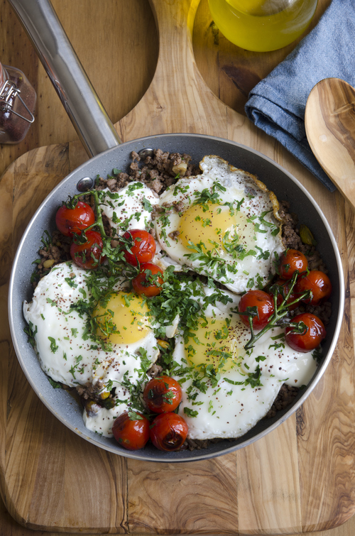 Try This: Braised Eggs with Lamb, Tahini & Sumac