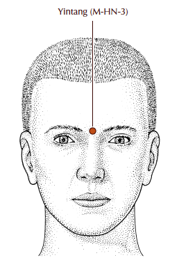 Yintang - Yin Tang : On the forehead below the third eye, between the 2 eyebrows. This point calms the spirit and can help with insomnia and anxiety, as well as help reduce headaches and nasal congestion.