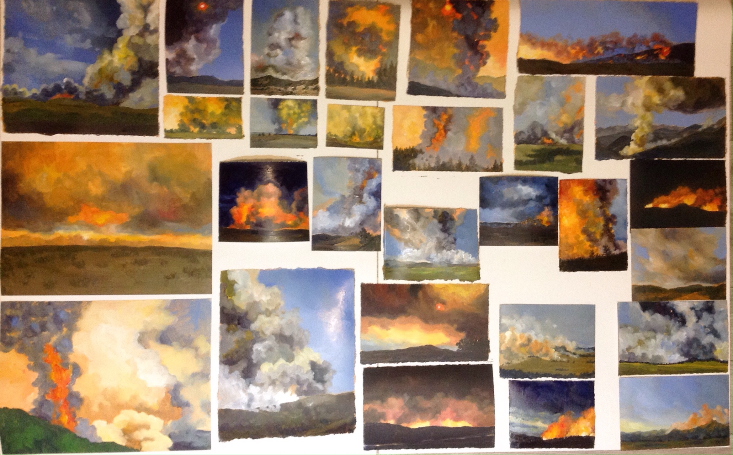 Finished! 28 paintings in one day.Sizes vary from 2x3 inches to 8x10 inches.
