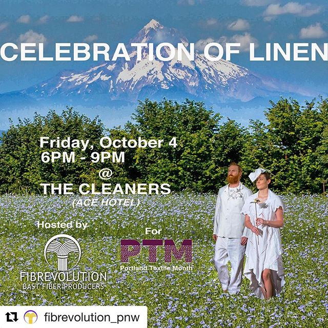 #Repost @fibrevolution_pnw with @get_repost ・・・ Join us for a fun filled evening celebrating LINEN!!! We have gathered some of our favorite linen enthusiasts - from field to finished products to create an exhibition and marketplace in downtown Portland, OR: • Hand-spinning demonstration by Diane McKinnon • Gowns by @elizabethdye • Home goods by @nonperishablegoods • Collection launch by @jacqueline_davis & @shannon_m_welsh • Vintage and new linen items by Amanda Yampolsky • At 7:30pm we will have a 1930's Willamette Valley Flax hand painted glass lantern slide show by @oregonhistoricalsociety &  Update from @fibrevolution_pnw and @pnw_fibershed about their work to revitalize linen production in the Pacific Northwest • LINK TO REGISTER IN BIO @portlandtextilemonth #flaxislinen #linen #flax #fiber #portlandtextilemonth #oregongrown #willamettevalley #welovelinen #loveoflinen
