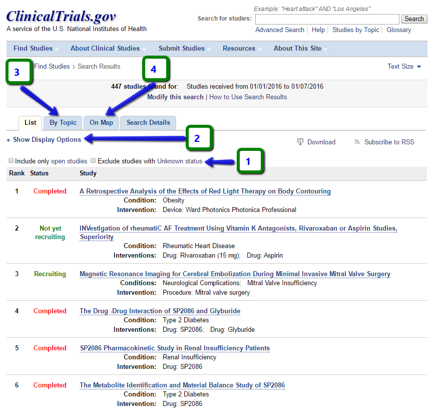 clinical trial advanced search