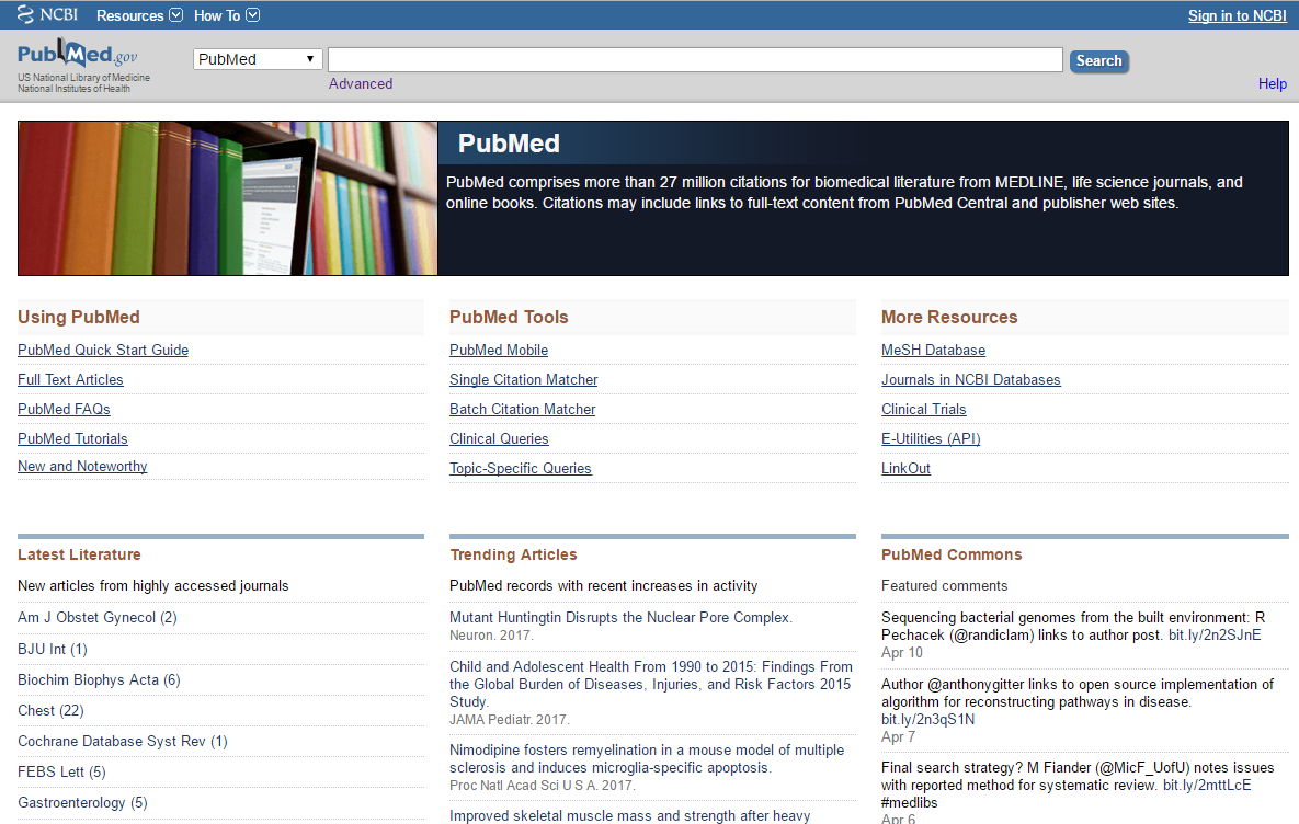 PubMed's Homepage