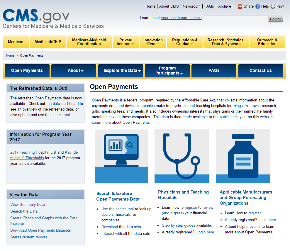 The Open Payments Program homepage