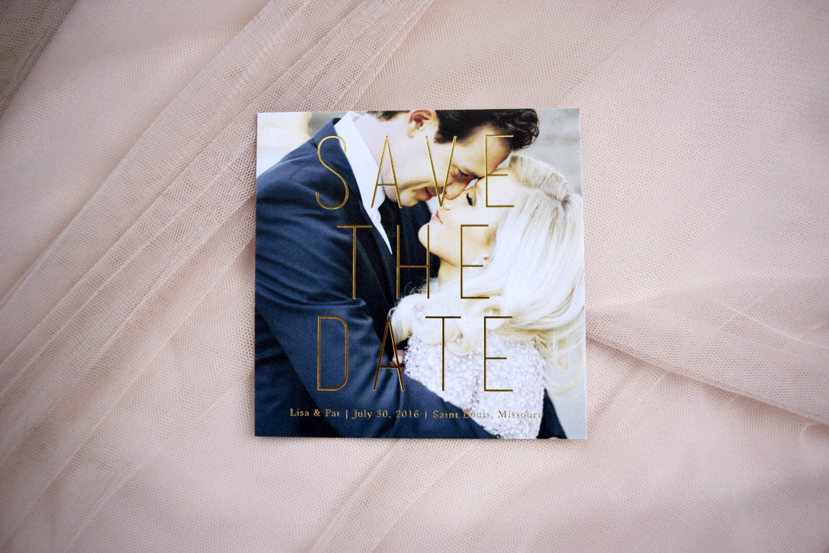On Three Designs, Gold foil save the date