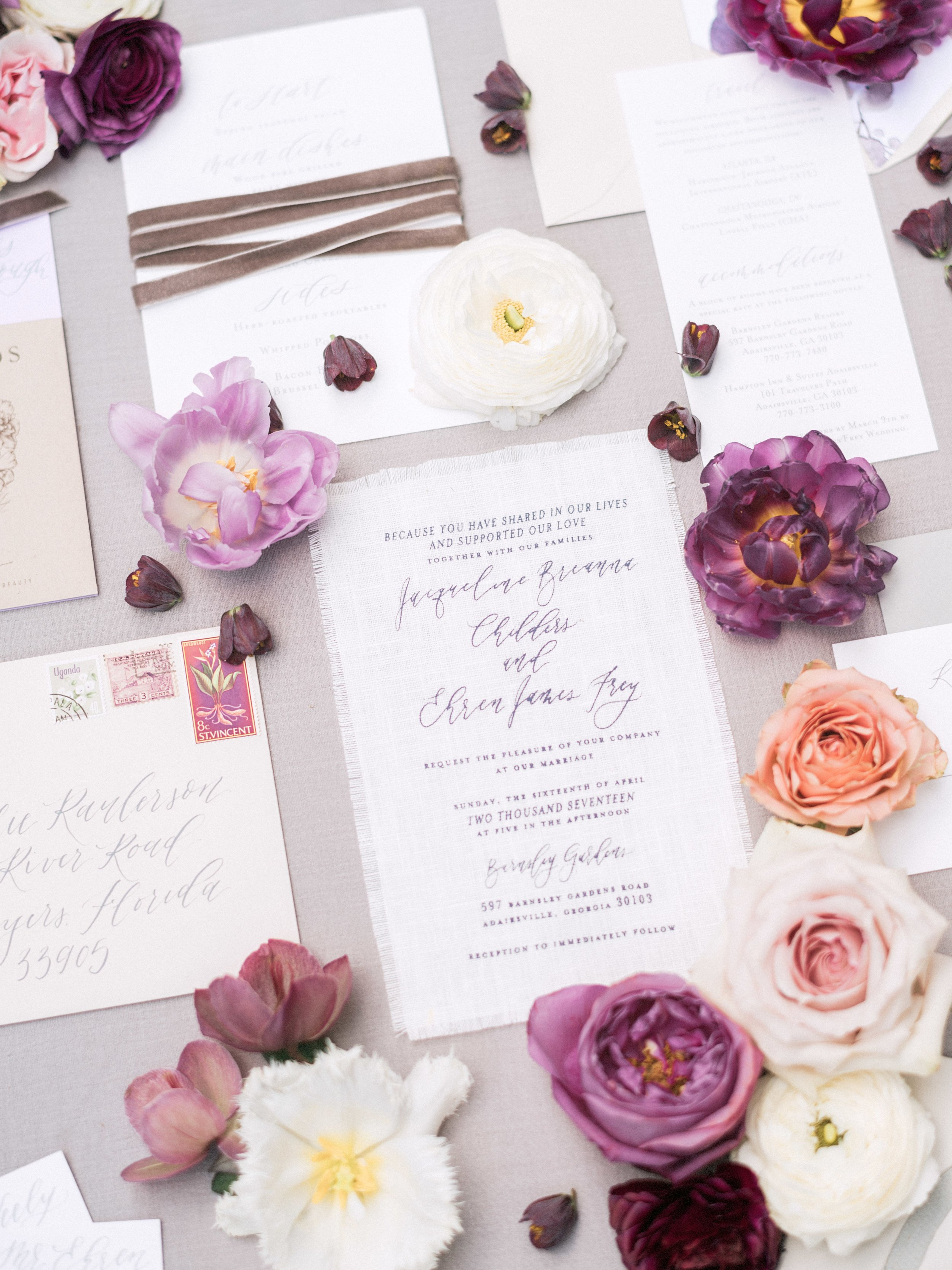 On Three Designs Fabric Wedding Invitation