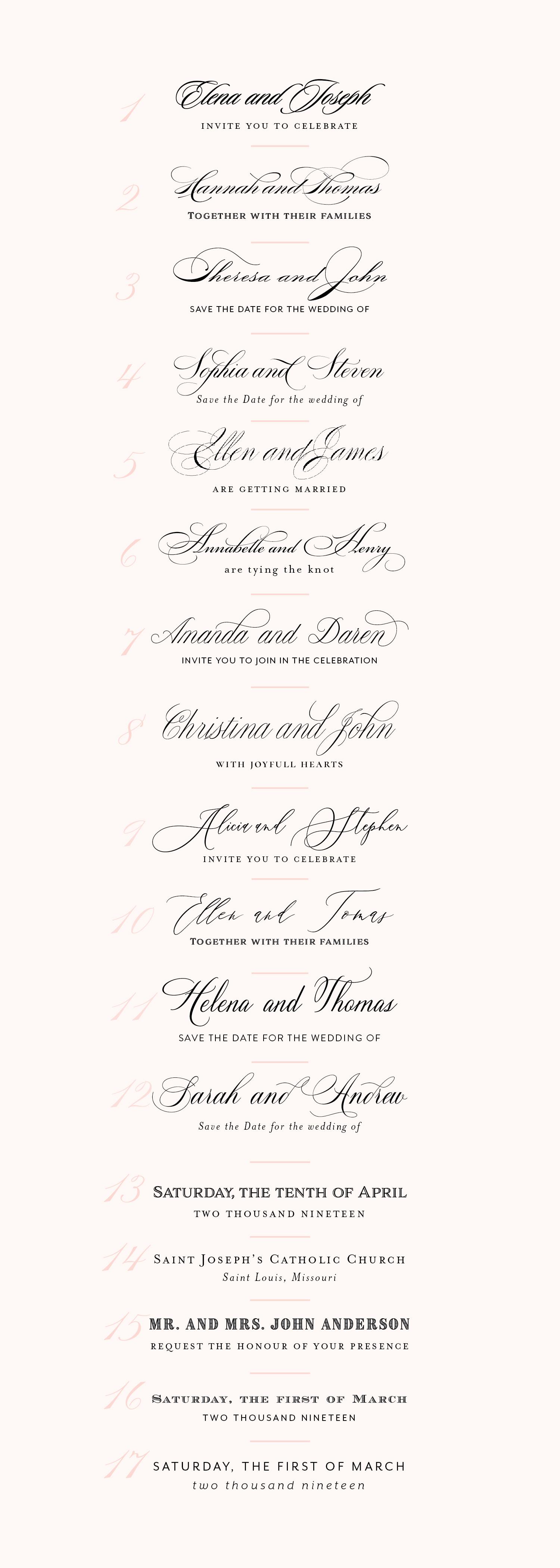On Three Designs, St. Louis, MO, wedding font pairings