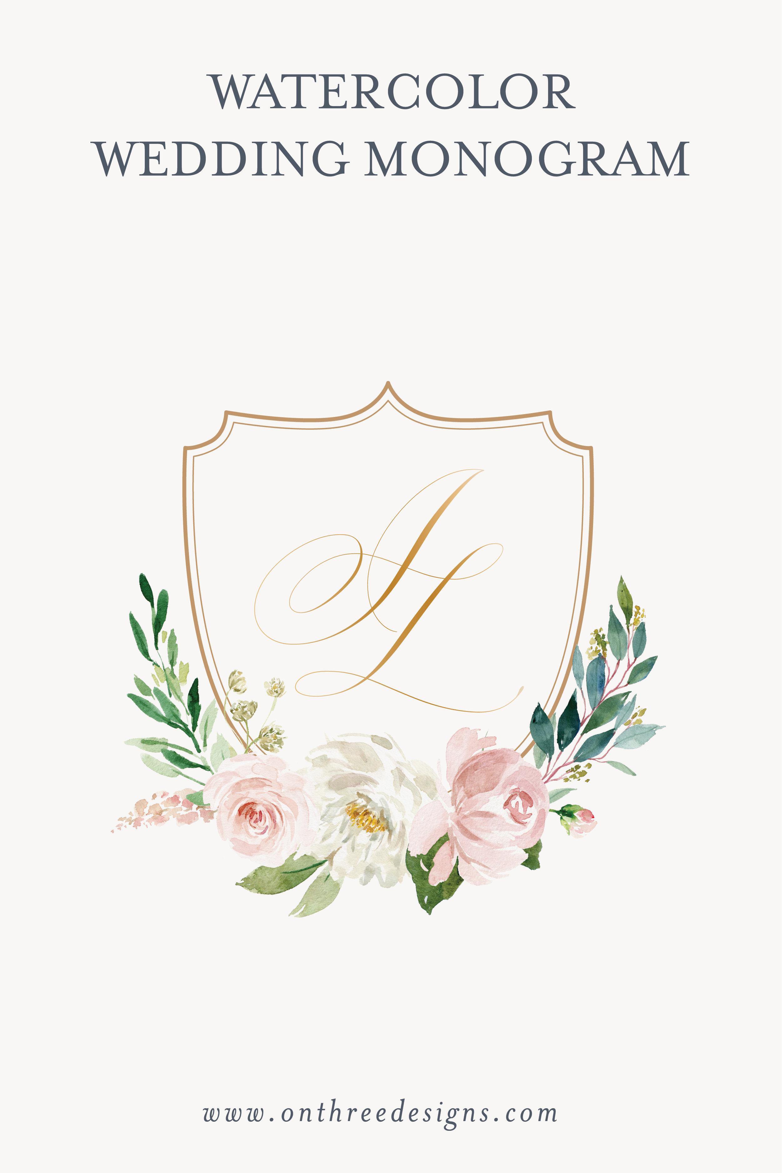 Floral watercolor wedding monogram
