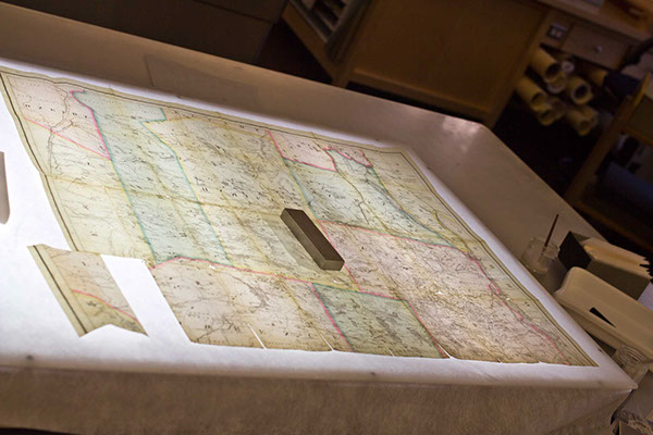 The map was repaired on a light box so I could match the panels up precisely.