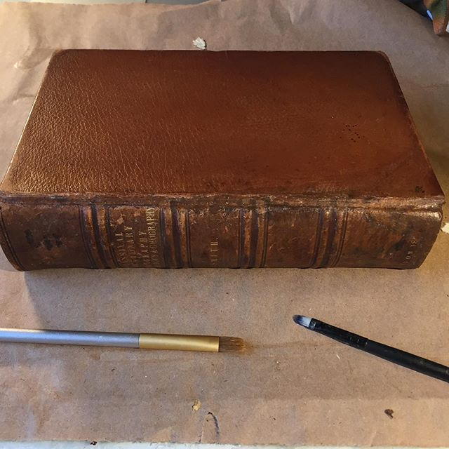 All dressed up! After color matching with Golden Acrylics, I like to add some Renaissance Wax to the dried paint. It shines up nicely to blend a bit better with the leather #bookrepair #bookbinding #colormatching #oldbooks #books #acrylicpainting #bookconservation