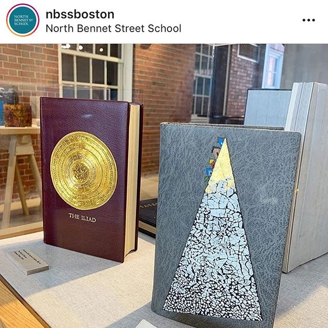 "Spotted in the wild: my fine binding of the Iliad at the North Bennet Street School's opening reception of ""Bound Together."" It's such a treat to get to see my work nestled in amongst other bindings. If you're in Boston This spring, be sure to check out the exhibit in person!"