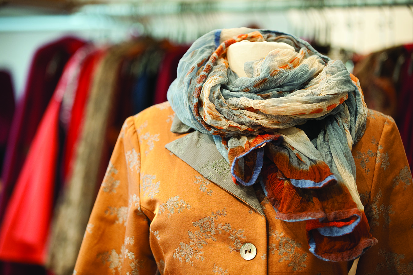 Karol Richardson scarf with yellow brocade coat jacket on manequin