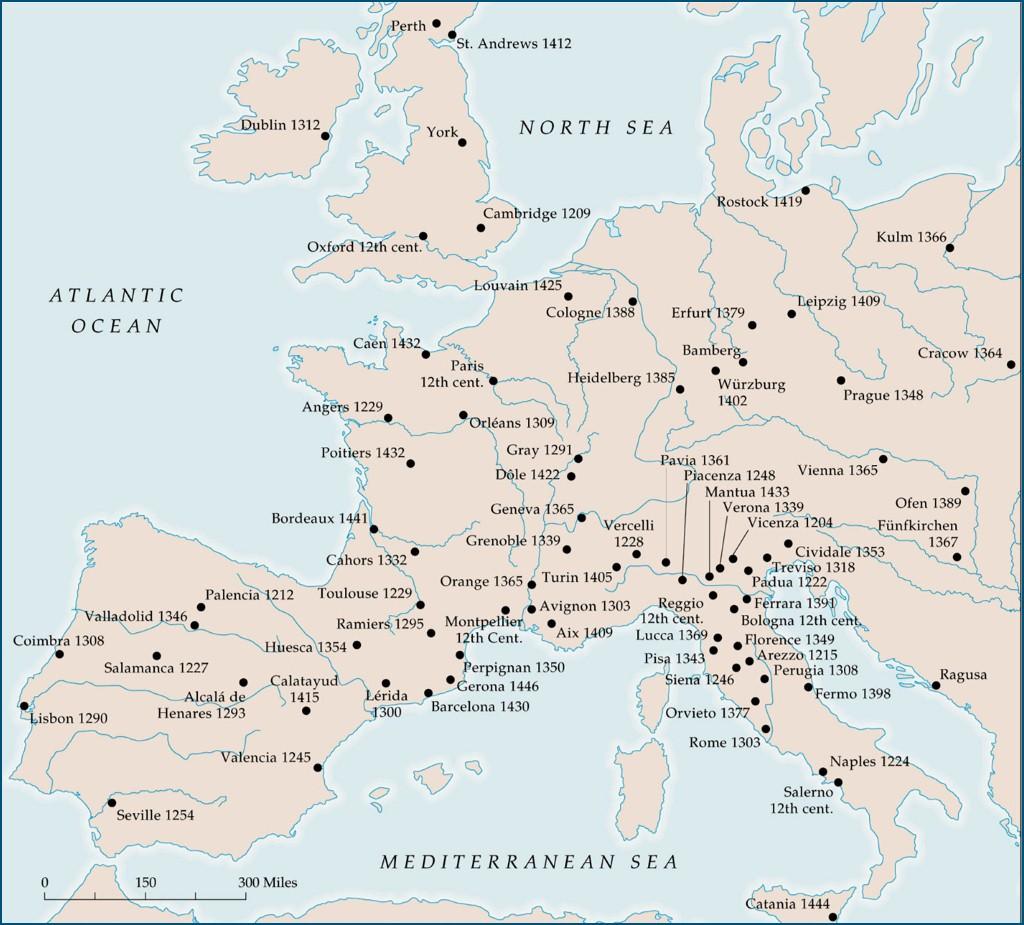 Años de fundación de distintas universidades europeas