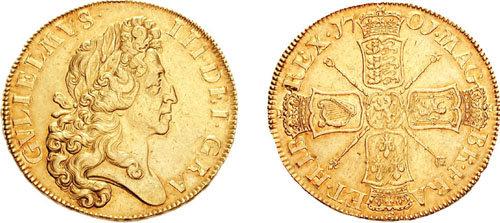 Moneda de oro: 5 guineas con la efigie de Guillermo III de Inglaterra (1650-1702)
