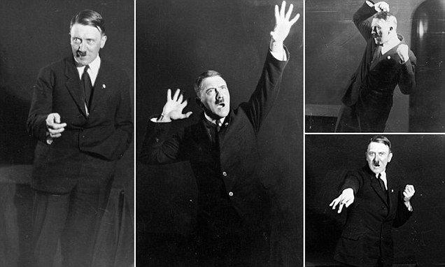 Hitler ensayando sus posturas y gesticulaciones para sus discursos