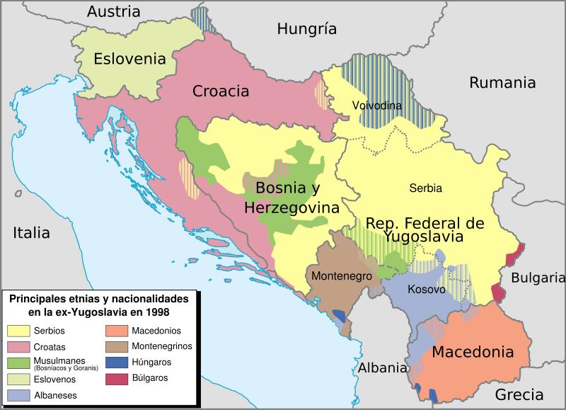 La desintegración de Yugoslavia dio inicio a una cruenta guerra limpieza étnica (masacre de Srebrenica contra la poblaciómusulmana)