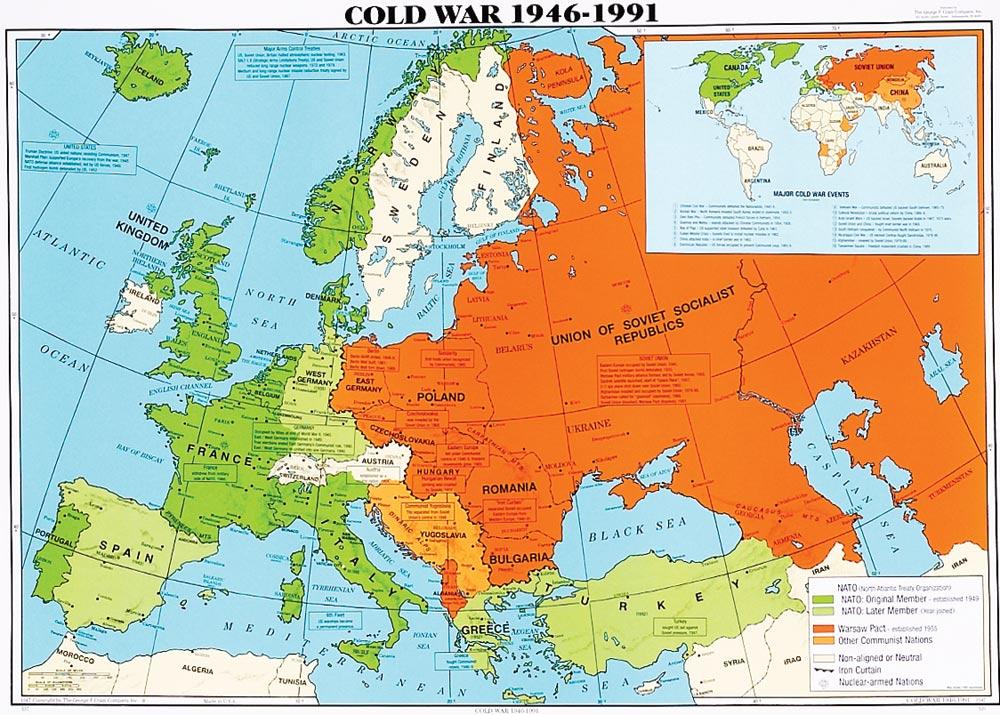 Verde: países de la OTAN / Rojo: Países del Pacto de Varsovia