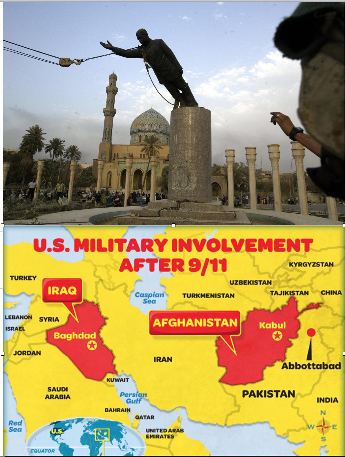 Estatua de Sadam Hussein y mapa de la intervención de EEUU en Irak y Afganistán