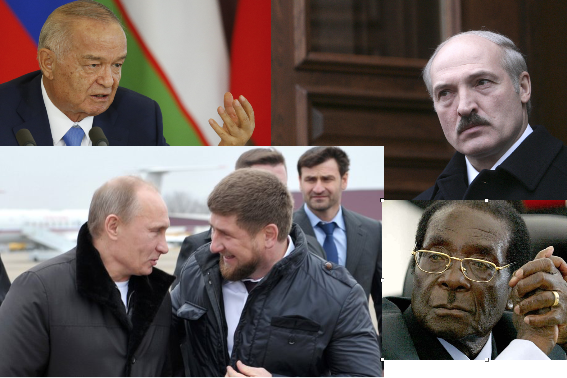 Regímenes autoritarios: Arriba izquierda: el recién fallecido Islam Karimov (uzbekistán); Abajo izquierda:Putin y Ramzan Kadyrov (Chechenia); Arriba derecha: Aleksandr Lukashenko (Bioleorusia); Abajo derecha: Robert Mugabe (Zimbabue)
