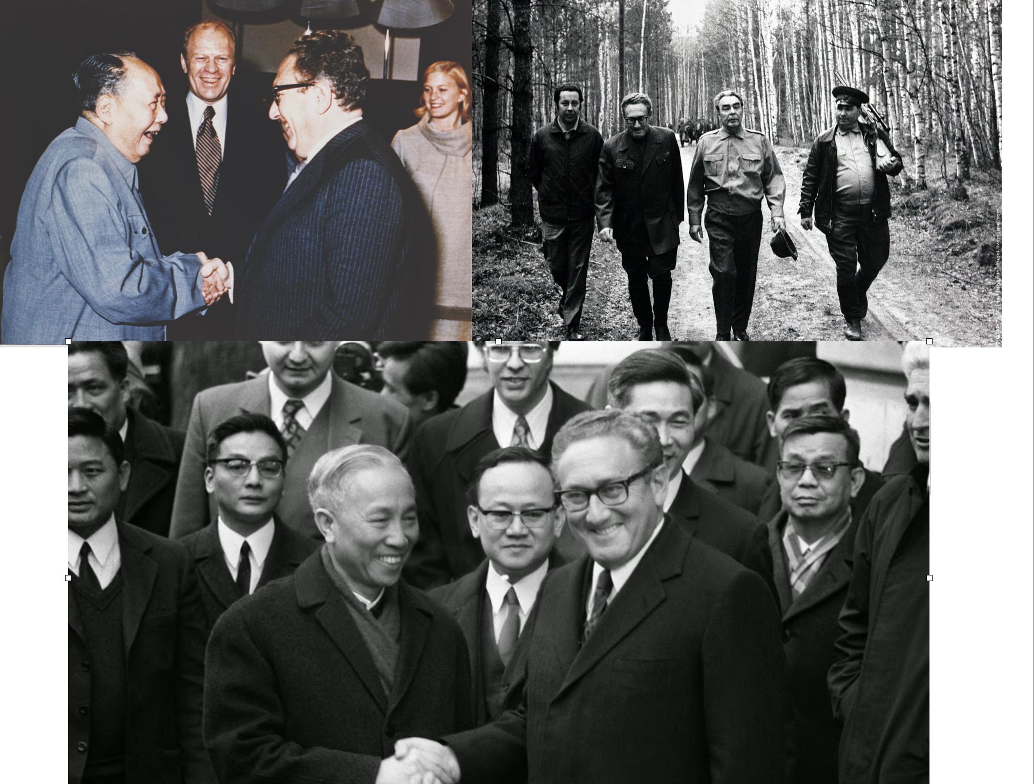 Kissinger con el lider Mao tse-Tung (izquierda), con el lider de la Unión Soviética Leonid Breznev, y abajo con el lider y guerrillero de vietnam del Norte, Le Duc Tho.