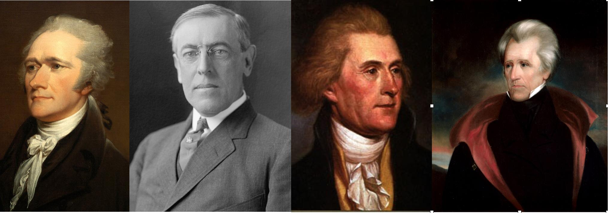 La política exterior estadounidense puede ser estudiada a través de estos 4 gigantes de la política del país: Hamilton, Wilson, Jefferson y Jackson.