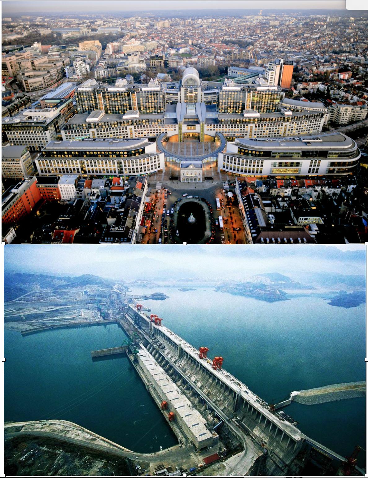 Edificios de la Unión Europea y la presa de las Tres Gargantas en China