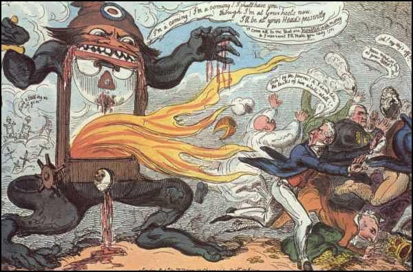 Crítica al exceso de violencia en la que degeneró la Revolución Frances. El símbolo del terror fue la guillotina