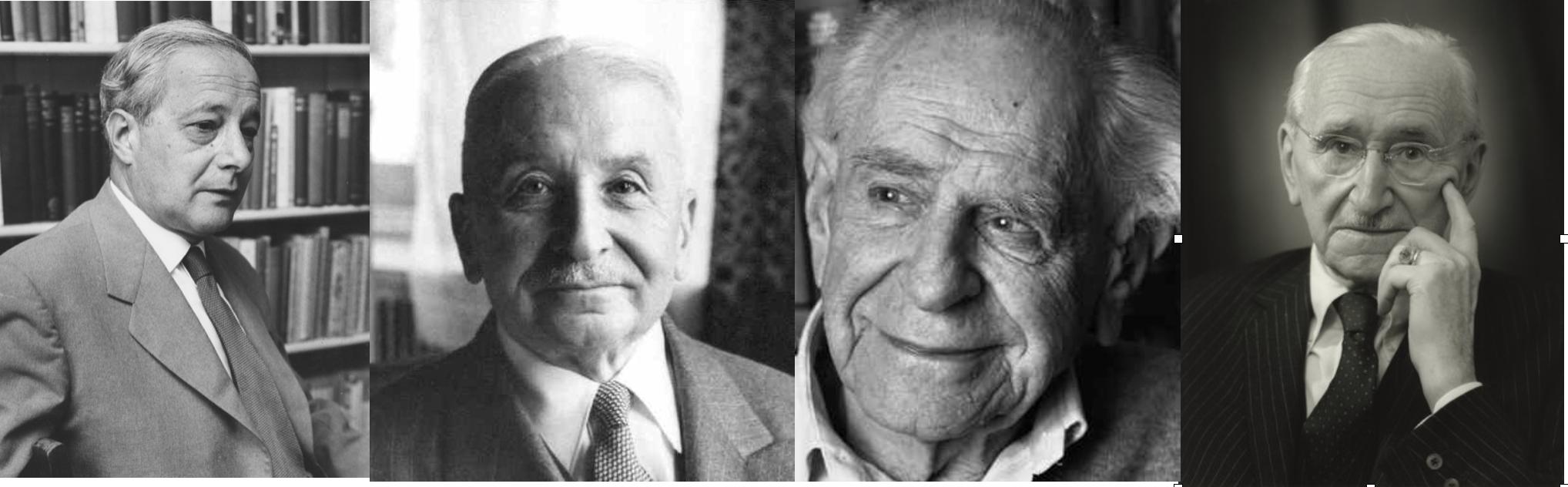 A la Sociedad Monte Pelerin asistían científicos, economistas, inetlectuales. En la imagen Michael Polanyi, Ludwig von Mises, Karl Popper y Friedrich Hayek.