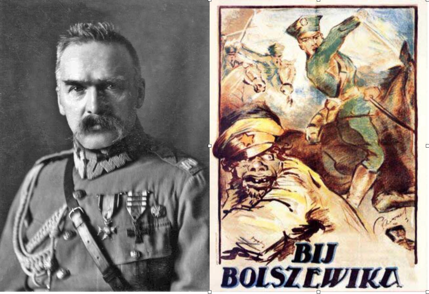 Józef Piłsudski y a la derecha propaganda polaca anti-bolchevique (guerra 1920)