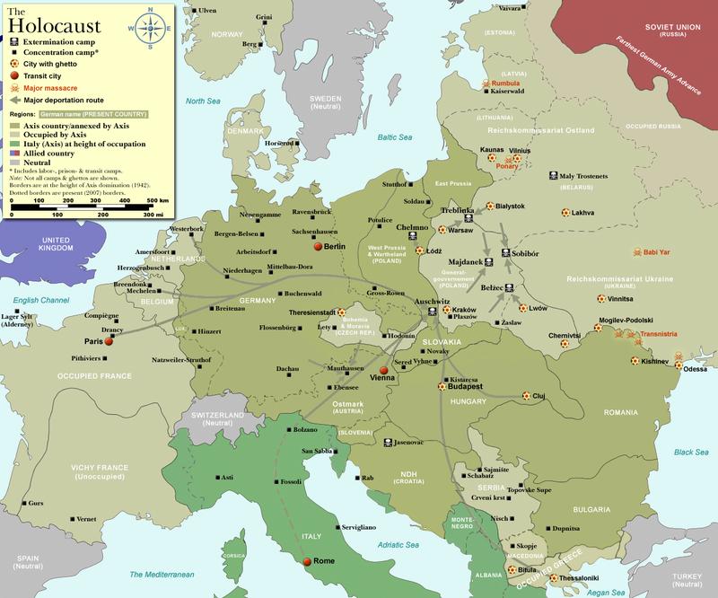 Mapa: ubicación de campos de concentración y exterminio