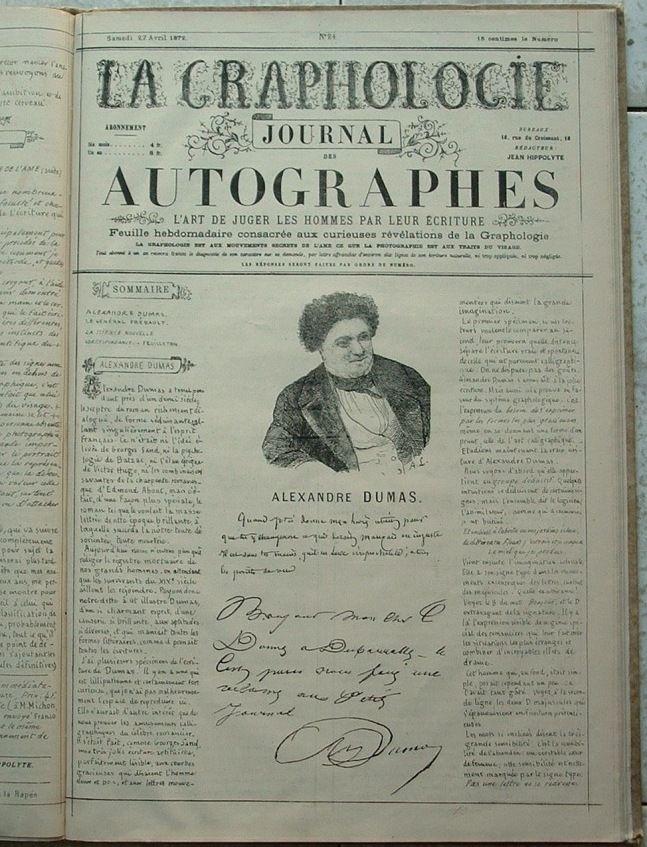 """Journal fundado por Michon en donde se analizan las formas de personajes famosos. S puede leer """"Autógrafos, El arte de juzgar a las personas por su escritura"""""""""""