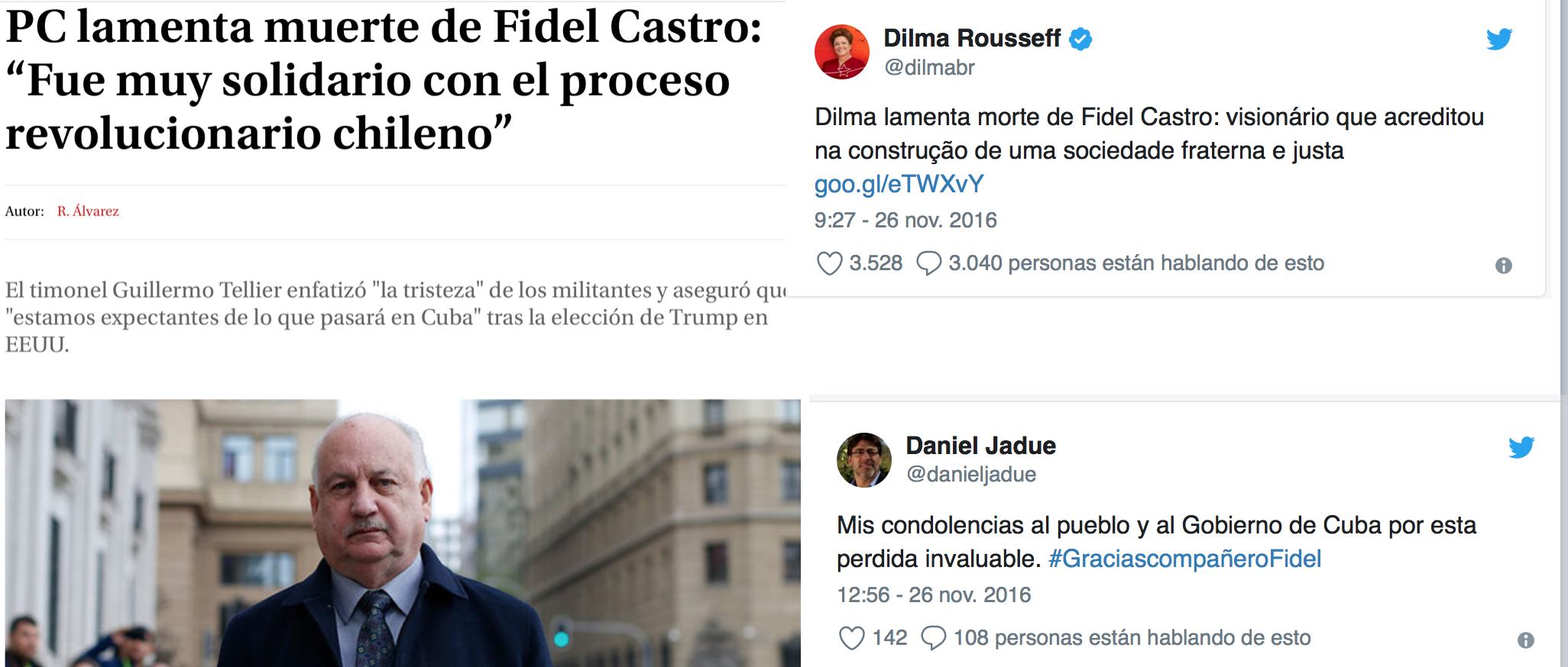 Izquierda chilena y latinoamericana aun en la actualidad, continuan avalando la dictadura cubana y la figura del dictador Fidel castro