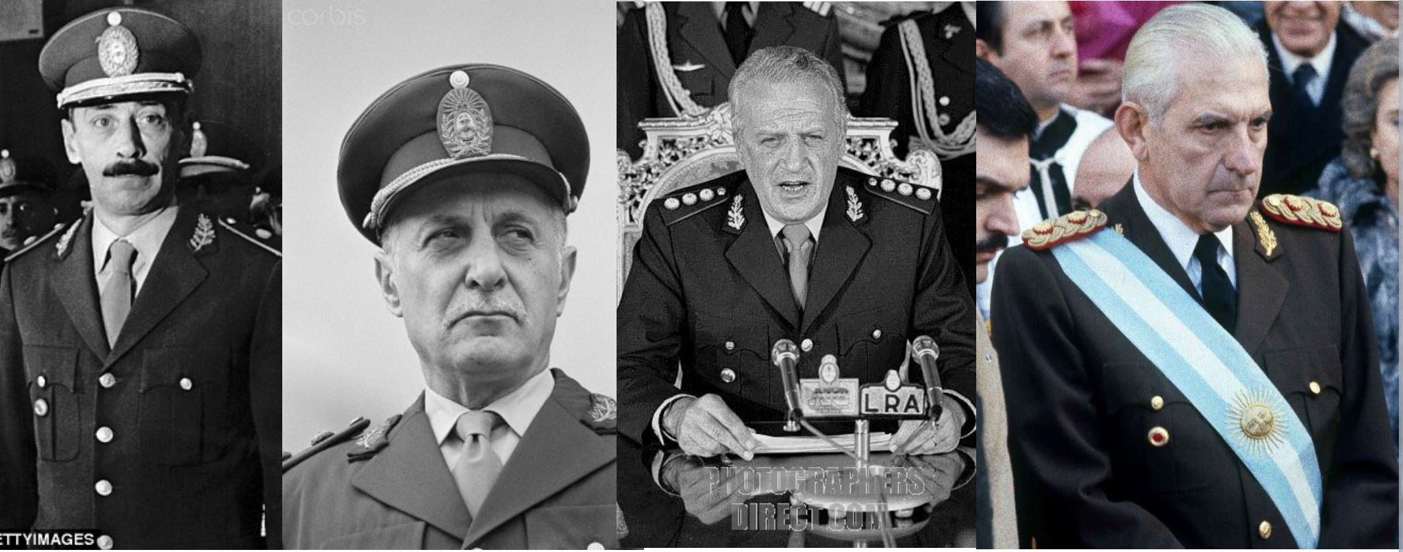Dictadura militar en Argentina (1976-1983): Rafael Videla, Roberto Viola, Leopoldo Galtieri y Reinaldo Bignone. Bajo este régimen también se implementaron medidas tendientes a liberalizar el mercado.