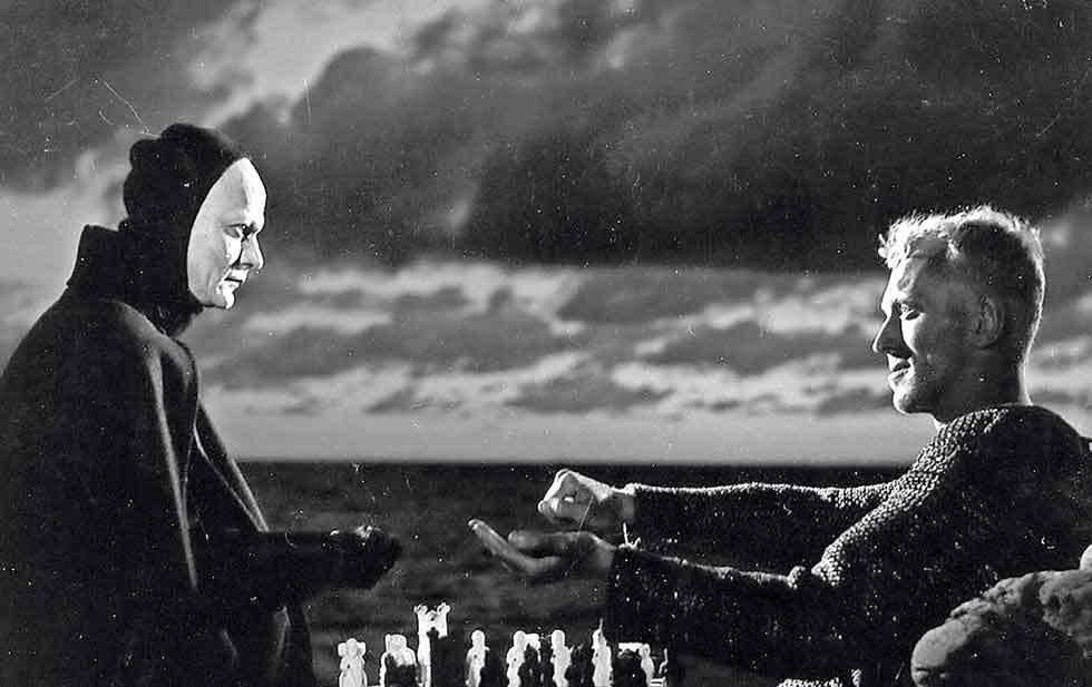 El Séptimo Sello de Ingmar Bergman. A la izquierda la Muerte