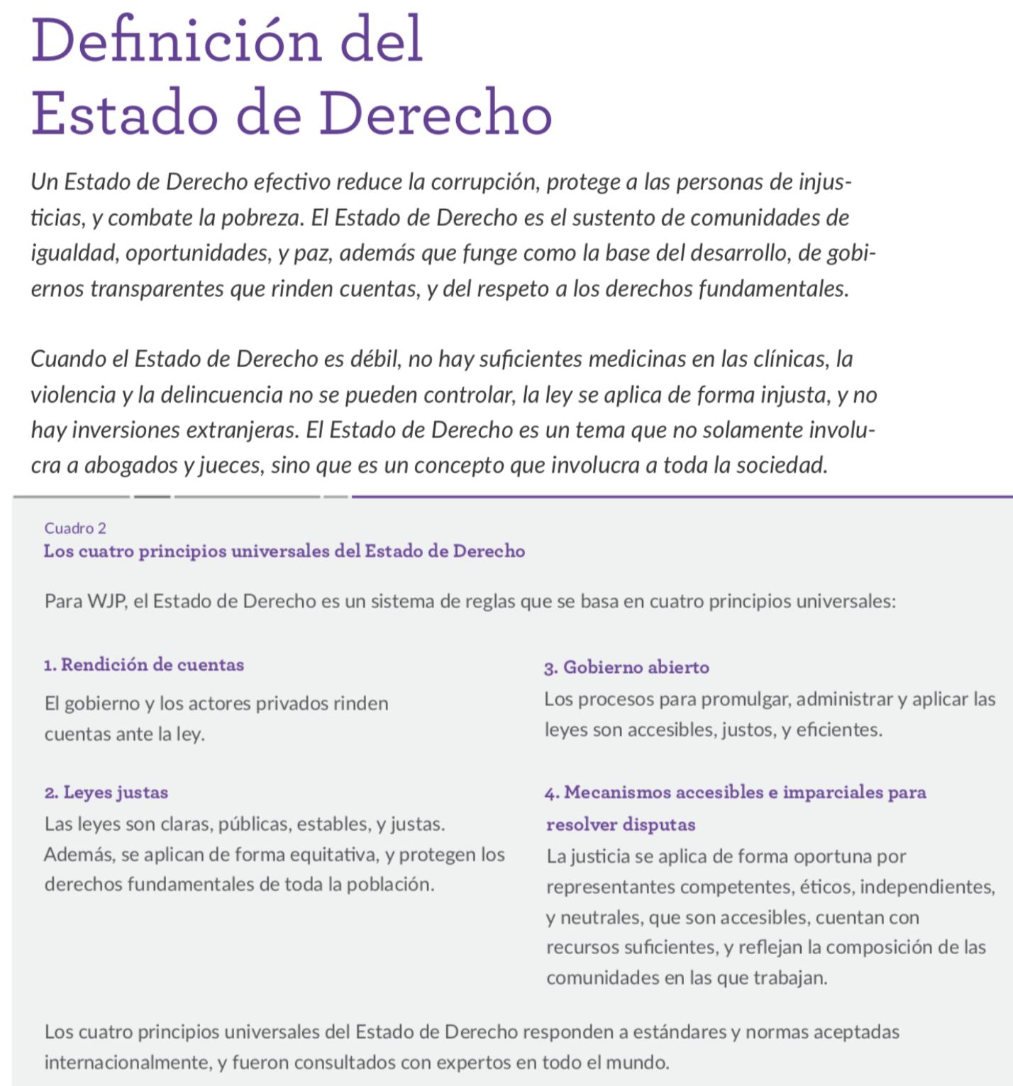 World Justice Proyect. Índice de Estado de Derecho 2017-2018
