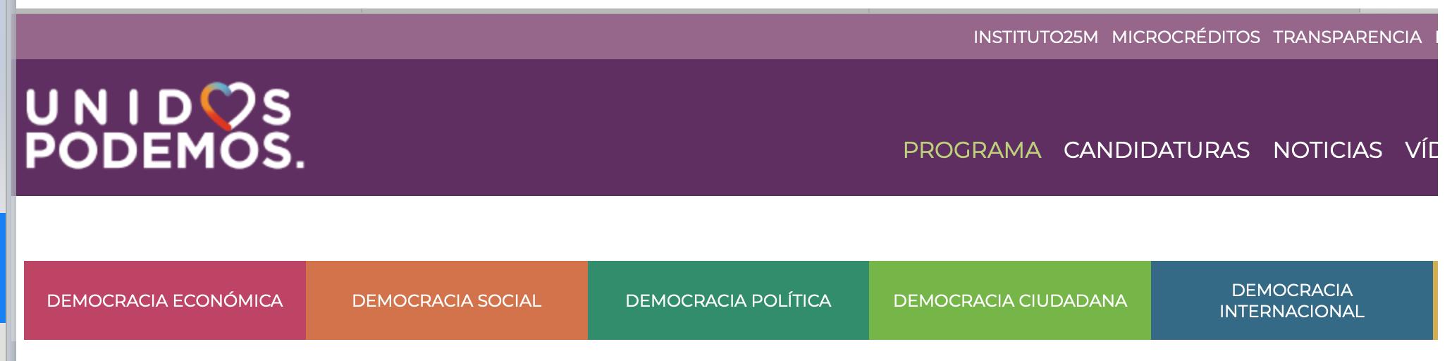 En la pagina de Podemos (España), referente del Frente Amplio, se puede apreciar que la democracia pasó a ser cualquier cosa menos democracia. Si hace click en cada una de estos tipo de democracia se encontrará con la ambiciosa suma de más de 390 puntos. Ciertamente la democracia, un concepto tan simple de entender, se ha vuelto algo bastante elástico y carente de significado.