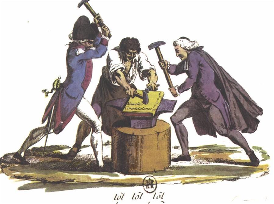 Los tres estamentos (clero, nobleza y Tercer Estado) forjando la nueva Constitución francesa