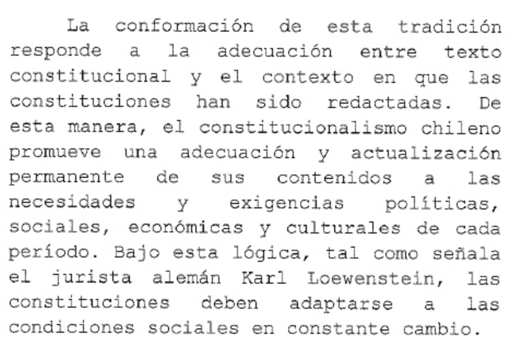 Extracto del mensaje de la ex Presidenta Michelle Bachelet con el que inició un proyecto e reforma a la Constitución.