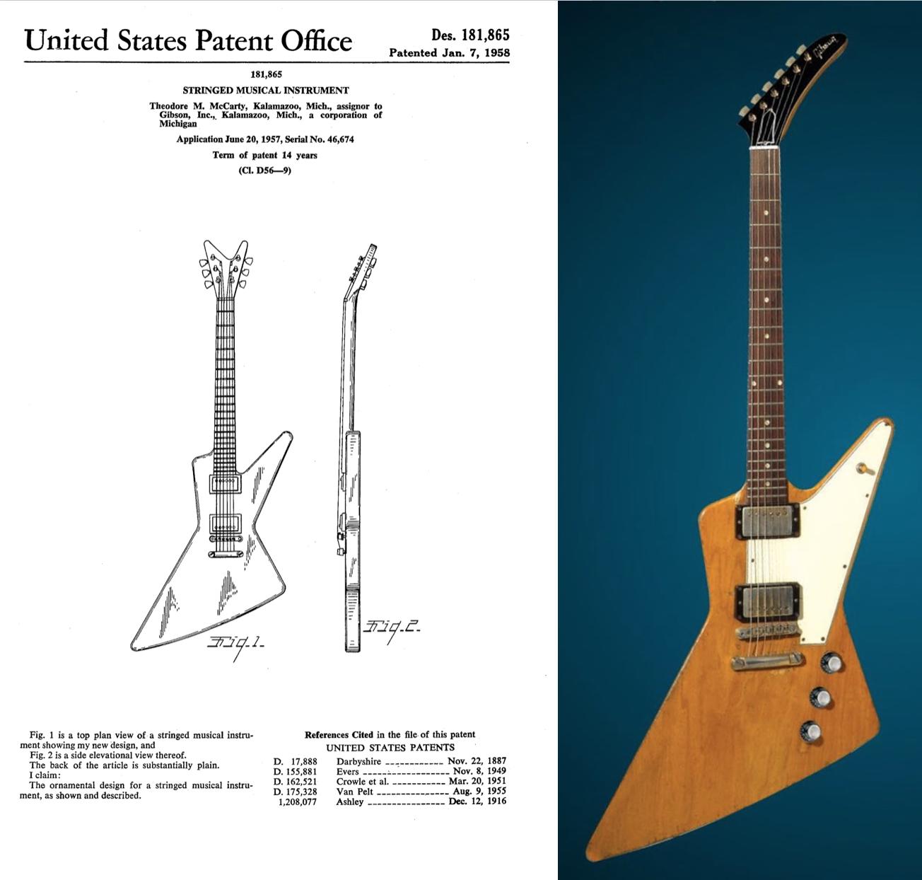 """Gibson Explorer. Como puede apreciarse hubo un cambio en el diseño de la headstock pala. Esto causaría en el 2019 que Gibson comenzara un ataque contra la empresa Dean pro usar headstock en forma de """"V"""". ¿Por qué después de tantos años Gibson decidió dar este paso?"""